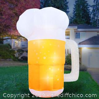 Holidayana Inflatable Saint Patrick's Day Beer Mug Decoration with Built-In Fan and LED Lights (J72)