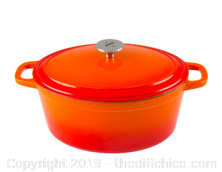 ZELANCIO 6 QUART OVAL ENAMELED CAST IRON DUTCH OVEN WITH LID (J101)