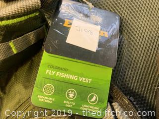 Elkton OUtdoors Fly Fishing Vest Backpack With Wading Pack (J108)