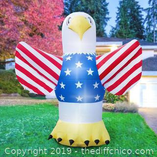 Holidayana Inflatable 4th of July Bald Eagle Decoration with Built-In Fan and LED Lights (J109)