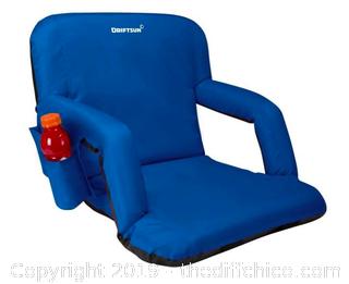 Driftsun Folding Stadium Seat, Reclining Bleacher Chair - Blue Deluxe (J117)