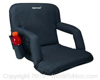 Driftsun Folding Stadium Seat, Reclining Bleacher Chair - Black Deluxe (J119)