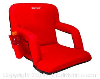 Driftsun Folding Stadium Seat, Reclining Bleacher Chair - Red Deluxe (J121)