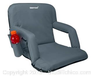 Driftsun Folding Stadium Seat, Reclining Bleacher Chair - Grey (J123)