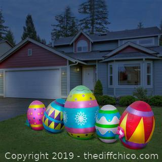 Holidayana Inflatable Easter Egg Decoration with Built-in Fan and LED Lights (J183)