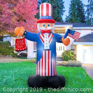 Holidayana Inflatable 4th Of July Uncle Sam Decoration with Built-In Fan and LED Lights (J198)
