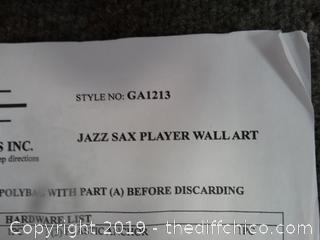 Jazz Sax Player Wall ART NIB