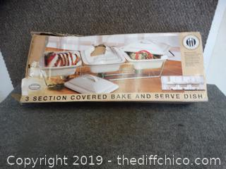 3 Section Covered Bake and Serve Dish NIB