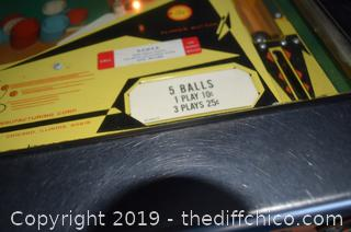 Working Bally Odds and Evens Pin Ball Machine-key opens front and back