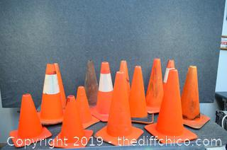14 Safety Cones-11 @ 19in tall - 3 @ 4 1/2in tall