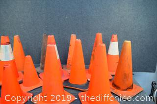 14 Safety Cones-11 @ 19in tall - 3 @ 14 1/2in tall
