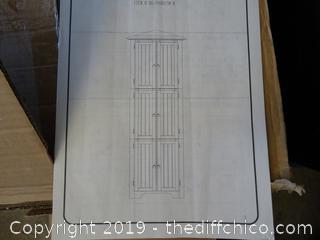 6 Door Corner Cabinet Oak/ Red NIB