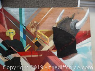"Unique Folk Art On Plywood 4FT X 39"""