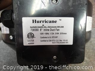 """Hurricane 8"""" Inline Fan Wks"""