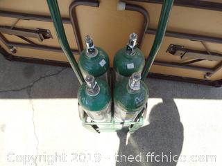 4 OXYGEN Bottles On Rolling Cart