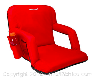 Driftsun Folding Stadium Seat, Reclining Bleacher Chair - Red (J3)