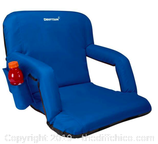 Driftsun Folding Stadium Seat, Reclining Bleacher Chair - Blue (J4)