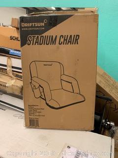 Driftsun Folding Stadium Seat, Reclining Bleacher Chair - Black (J5)