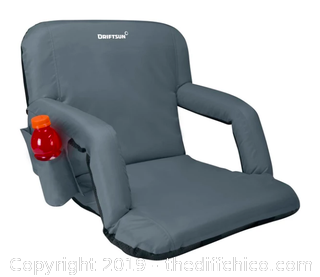 Driftsun Folding Stadium Seat, Reclining Bleacher Chair - Grey XL (J7)