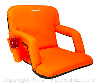 Driftsun Folding Stadium Seat, Reclining Bleacher Chair - Orange XL (J10)