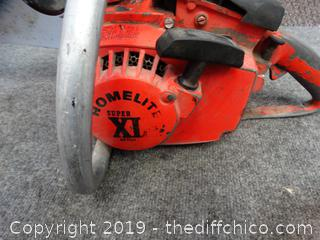 "Homelite XL Chainsaw Has Compression 18"" Bar"