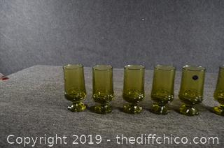 6 Heavy Vintage Green Franciscan Crystal Glasses