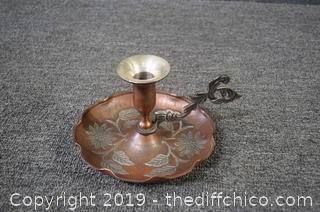 Copper and Cast Iron Candle Holder