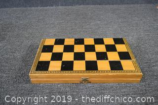 Chess Board w/Porcelain Pieces