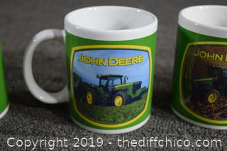 4 John Deere Tractor Coffee Cups w/Mug Tree
