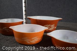 4 Pyrex Autumn Harvest Wheat Pattern Bowls
