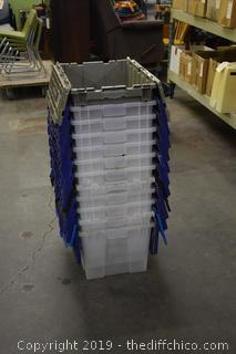 12 Totes w/folding tops-all in good shape