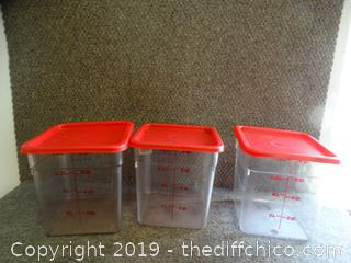 3 Measuring Containers With Lids