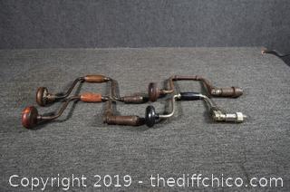 4 Vintage Hand Drills