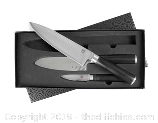 ZELANCIO PREMIUM 3 PIECE JAPANESE STEEL PROFESSIONAL CHEF KNIFE SET (J18)