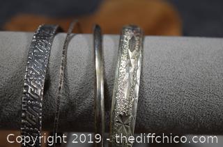 4 Bracelets marked 925