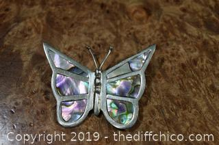 Sterling Silver Abalone Butterfly