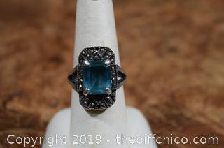 Sterling Silver Ring w/Aquamarine Stone Size 8