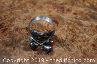 Sterling Silver Ring w/6 Stones Size 7 to 8