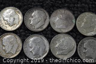 10 Dimes 90% Silver