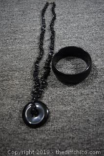 Black Necklace and Bracelet