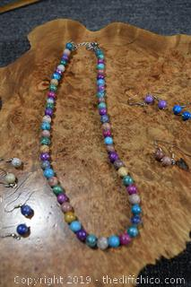 Colorful Semi-Precious Stone Necklace plus 6 Pair of Earrings