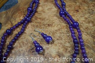 24in long Amethyst Necklace and Earrings