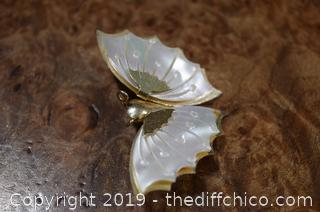 Mother of Pearl Butterfly Brooch