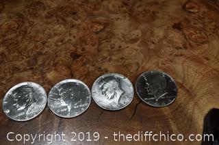 4 - 1964 Kennedy Half Dollars 90% Silver