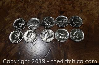 10 Mercury Dimes 90% Silver