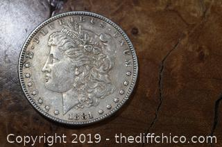 1881 Morgan Dollar 90% Silver