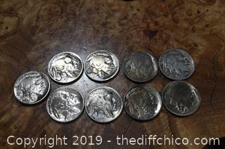 9 Buffalo Head Nickels