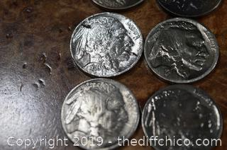 9 Buffalo Head Nickels