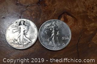 2 Walking Liberty Half Dollars 90% Silver