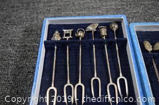 18 Pieces of Sterling Silver Oriental Spoons and Appetizer Forks